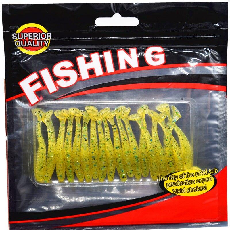 20 unids/pack Señuelo de la Pesca Soft Bait 50mm/0.7g T de Cola de Pescado suave