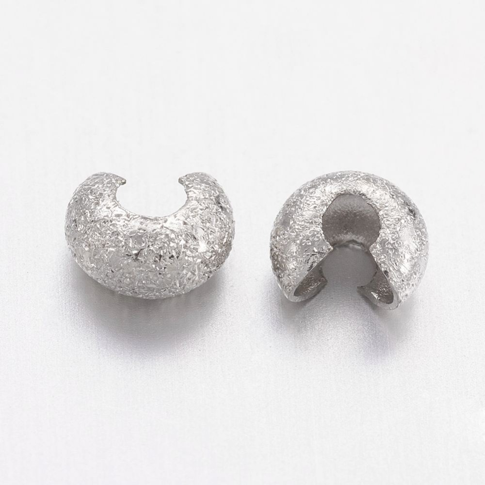 2000pcs 3.2x2.2mm Brass Crimp Beads Covers for Jewelry Making DIY, Nickel Free, for Need ...