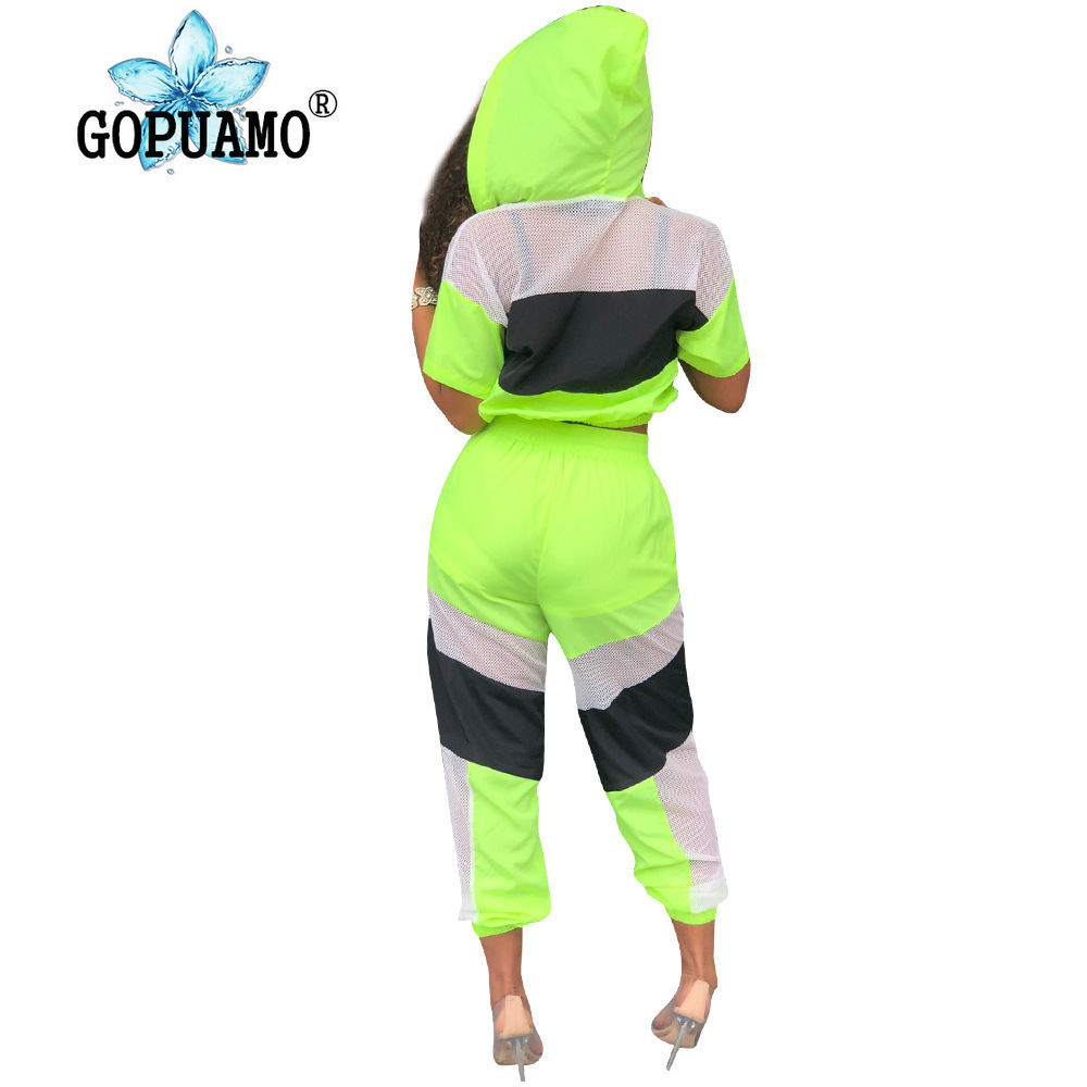 Sheer Mesh Patchwork Sexy 2 Piece Tracksuits Women Front Zipper Hooded Loose Crop Top And Long Pants Casual Sweat Suit Outfits