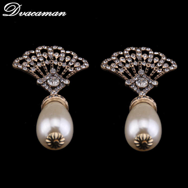 Dvacaman 2016 New Arrival Good Quality Fashion Simulated Pearl Earring Statement Crystal Stud Earrings for Women 7069