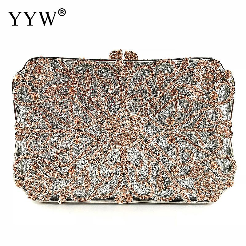 Metal Clutch Rose Bag Women Crystal Gold Evening Party Luxury Bag Wedding Party Handbags Purse Lady Diamond Rhinestone Clutches mystic river gold handbags luxury crystal bags big diamond clutches women evening bag with chain lady wedding clutch party purse