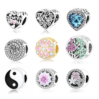 925 Sterling Silver Poetic Blooms Charms With Mixed Enamels Clear CZ Fit Original Pandora Charm Bracelet