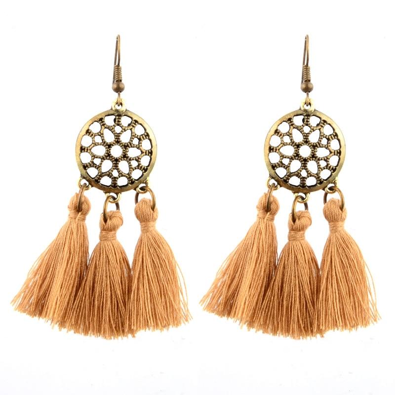 2017 New Alloy Ethnic Long Earrings Graceful Handmade Cotton Tassel Pendant Dreamcatcher Fringed Brincos Boho Fashion