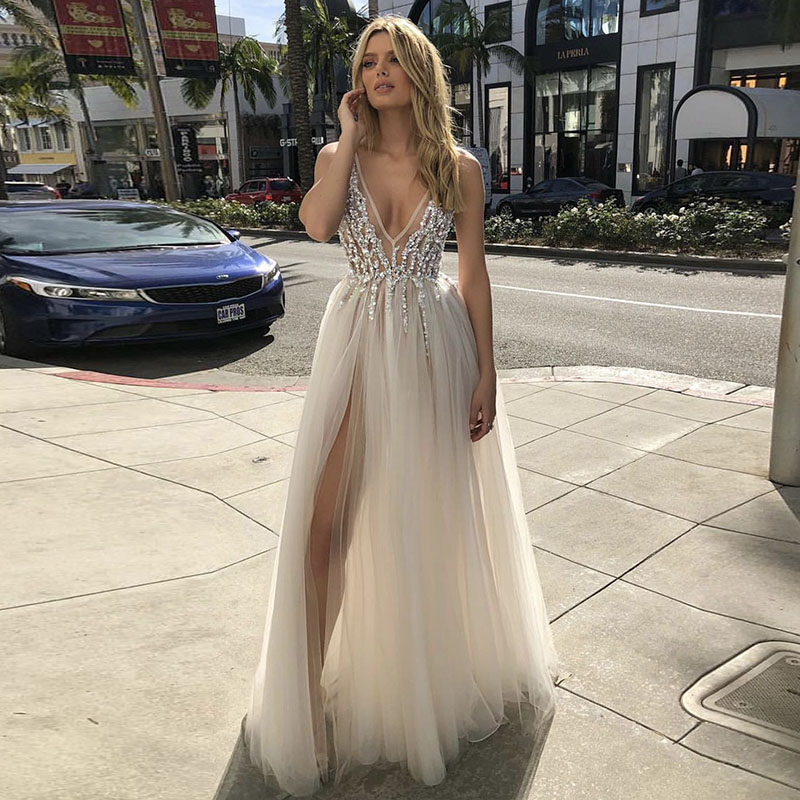 LORIE 2019 V Neck Beach Wedding Dresses Beaded High Split Backless A Line Tulle Sexy Boho Bridal Gowns Vintage