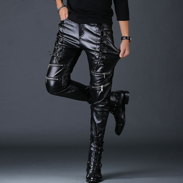 men personality fake zippers design skinny faux leather pants youth rock nightclub motorcycle clothing autumn winter trousers 1
