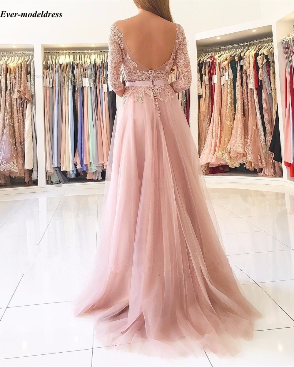 Image 3 - Blush Pink Bridesmaid Dresses 2019 Sexy A Line High Split Backless Lace Long Sleeve Floor Length Wedding Guest Prom Party Dress-in Bridesmaid Dresses from Weddings & Events