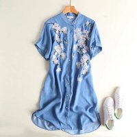 Women's end of a single stand collar embroidery denim one-piece dress