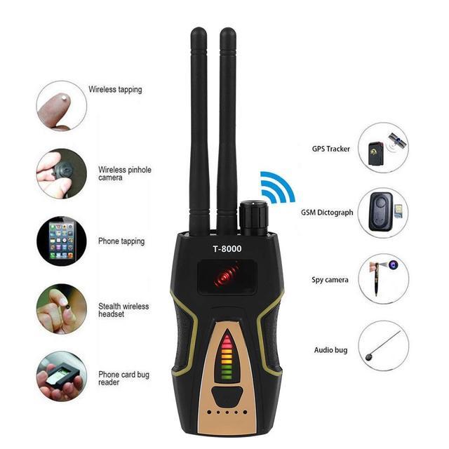 T8000 Anti Spy RF สัญญาณ GSM เสียง Finder GPS Scan เครื่องตรวจจับ