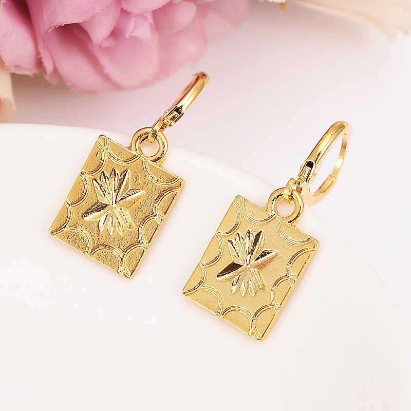 Gold Farbe Dubai platz Ohrringe geometrische Frauen/Mädchen, liebe Trendy Schmuck für Afrikanische/Arabischen/Mittleren Östlichen party schmuck geschenk