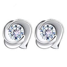 цена 100% 925 sterling silver fashion shiny crystal ladies`stud earrings jewelry Anti allergy female women gift drop shipping в интернет-магазинах