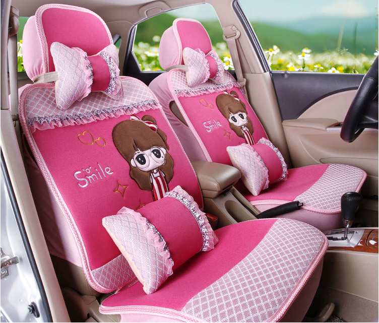 2016 New Arrival 5 Pieces Set Female Car Seat Covers Four Season Women Flax Texture Of Material Girls Cover Cushion