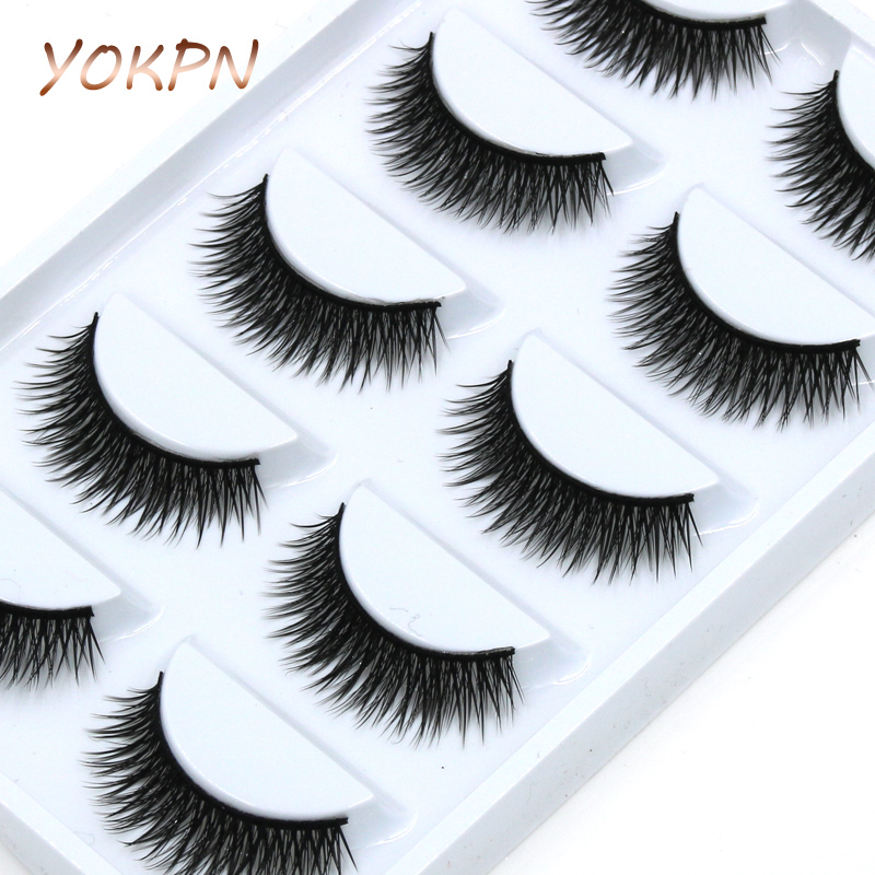 YOKPN Wholesale Short Paragraph Natural False Eyelashes Mounted Cross Thick False Eyelashes High Quality Makeup Fake Eyelashes