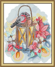 Bird and lamp cross stitch kit aida 14ct 11ct count print canvas stitches embroidery DIY handmade needlework(China)
