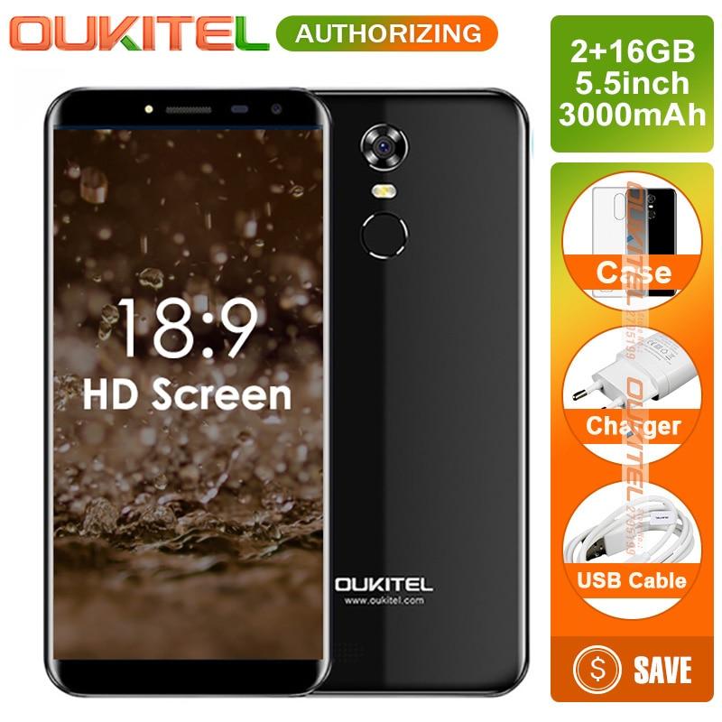 Oukitel C8 5,5 дюймов соотношением сторон 18:9 смартфон 2 ГБ + 16 ГБ 13MP Android 7,0 mtk6580a четыре ядра сенсорный телефон 3000 мАч мобильного телефона
