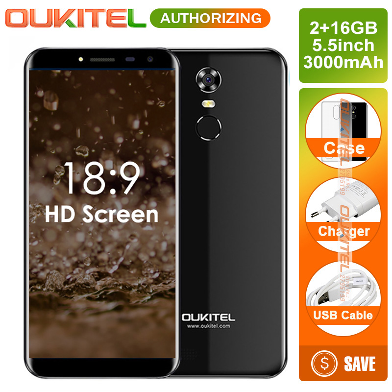 Oukitel C8 5,5 pulgadas relación de aspecto de 18:9 Smartphone 2 GB + 16 GB 13MP Android 7,0 MTK6580A Quad Core teléfono táctil 3000 mAh teléfono móvil