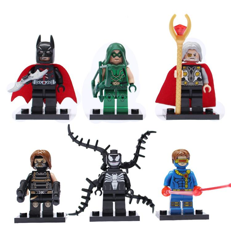 6pcs/Set Batman Captain America Venom Green Arrow Bricks