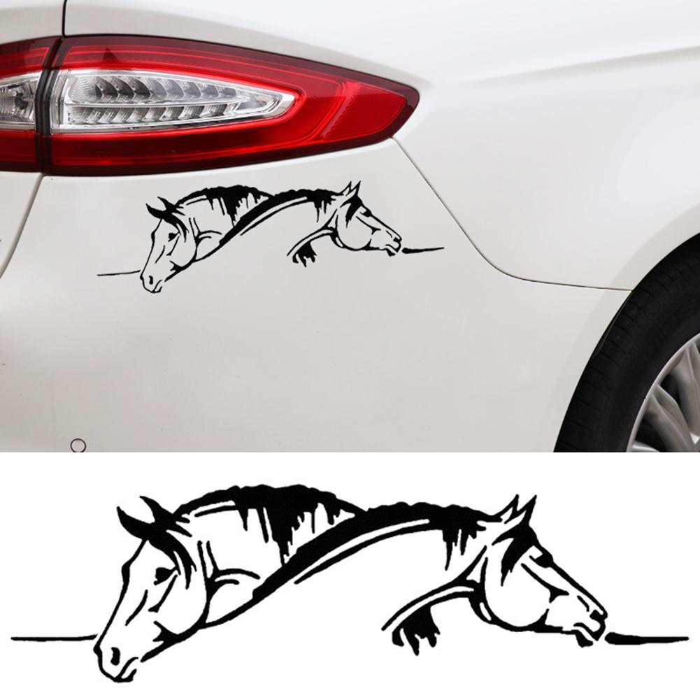 Image 4 - Car Sticker Waterproof sticker Suitable for all cars Creative Two Horses Graphic Car Sticker And Funny Animal Decal Car Style-in Car Stickers from Automobiles & Motorcycles