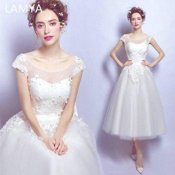 LAMYA Tea Length Cap Sleeve Wedding Dress Appliques With Crystal Bridal Gown Elegant Vestidos de Noivas Plus Size Ball Gowns