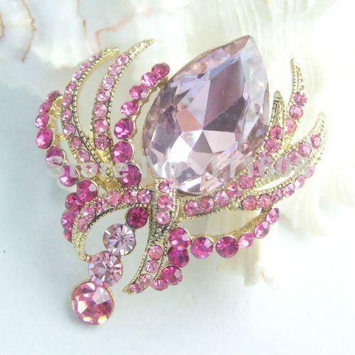 Ювелирный костюм розовый хрустальный цветок со стразами брошь булавка EE04906C3