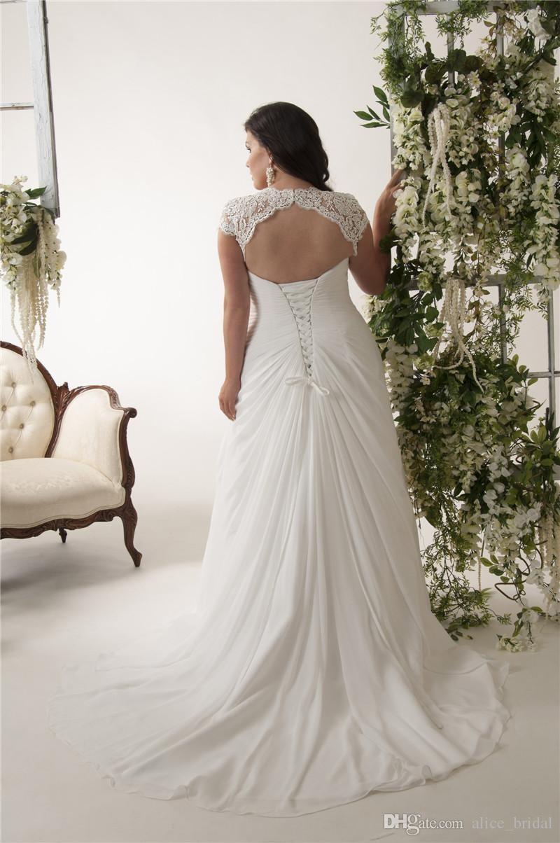 Grande taille Sexy col en V dentelle robes de mariée en mousseline de soie 2019 à lacets longueur de plancher arrière blanc plage mariée robes de mariée robes de mariée - 4