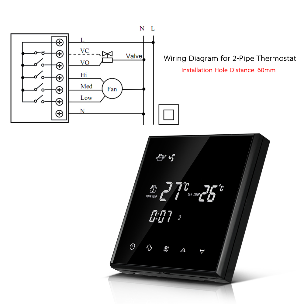hight resolution of air conditioner 2 pipe thermostat 220 230v with lcd displa touch screen programmable room temperature controller in temperature instruments from tools on