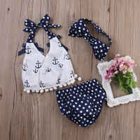 3pcs New Baby Girl Clothes Anchor Tops and Dots Briefs and Headband Sunsuit Outfits