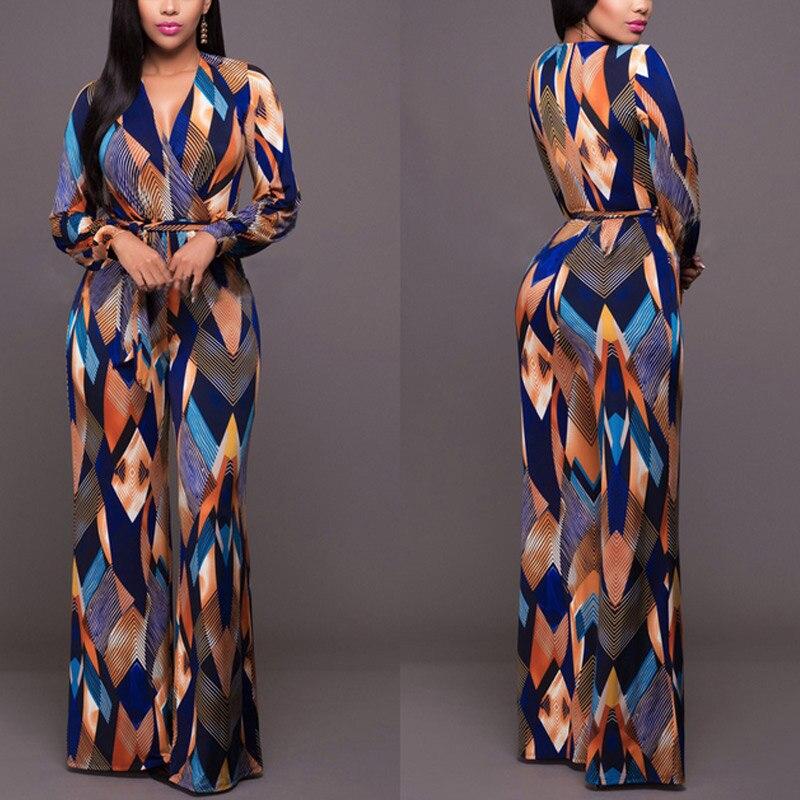 Fashion Women Floral Print Jumpsuit Long Sleeve  V-neck Playsuit Long Overalls OL Party Jumpsuits H9