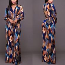 Fashion Women Floral Print Jumpsuit Long Sleeve V-neck Playsuit Long Overalls OL