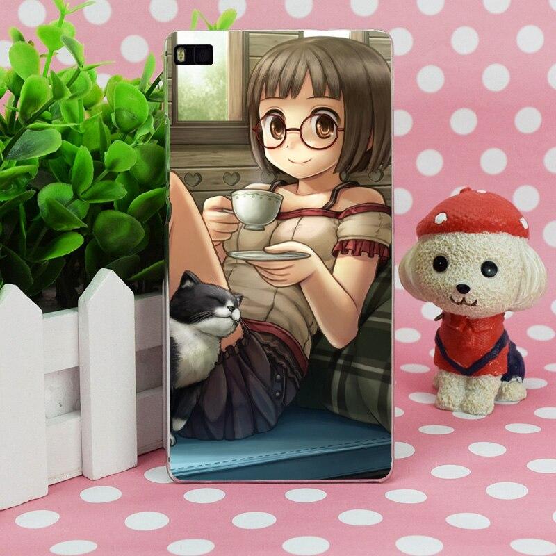 B2611 namaru девушка кошка Кот кружка Чай диван Прозрачный Жесткий Тонкий чехол кожного покрова для Huawei P 6 7 8 9 lite плюс Honor 6 7 4c 4x G7