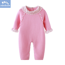 2cb21af01240 2019 Autumn winter Newborn Baby Girls Rompers Pink Knitting Romper Ruffled  Cuff infant toddler clothes knit