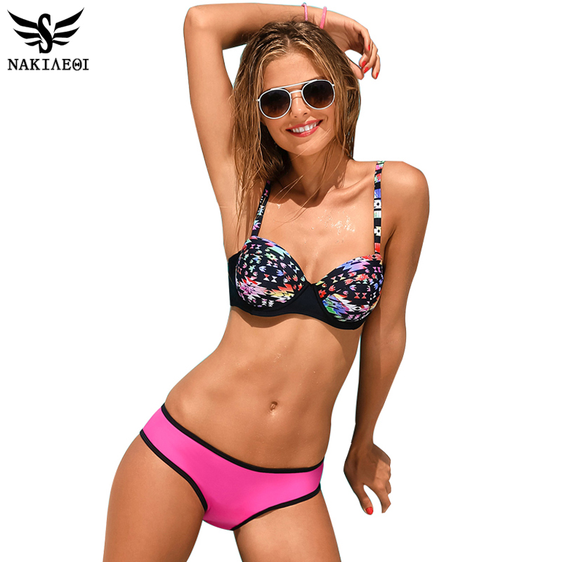 NAKIAEOI 2018 Sexy Bikinis Women Swimwear Bathing Suits Swim Halter Swimsuit Push Up Bikini Set Printing Retro Swimming Wear XXL