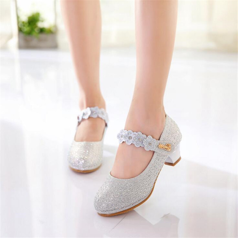 Child Princess Girls Sandals Kids Shoes For Girls Dress Shoes Little High Heel Glitter Summer Party Wedding Sandal Children Shoe girls pearl beading rhinestone sandals princess square heel pointed toe dress shoes children wedding party formal shoes aa51329