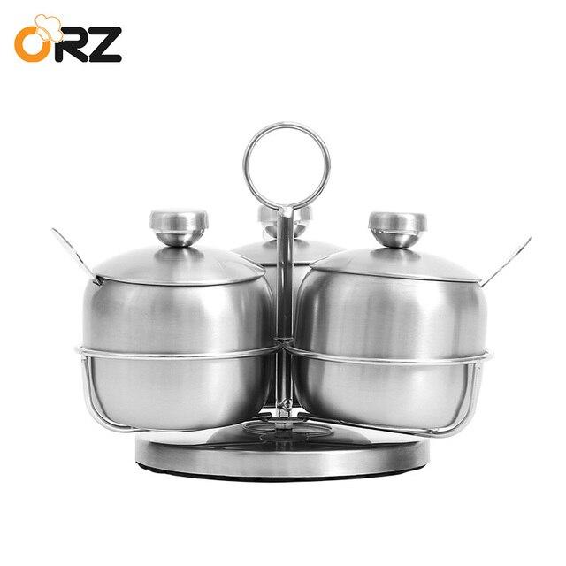 ORZ Rotation Seasoning Bottles Condiment Pot Set Stainless Steel