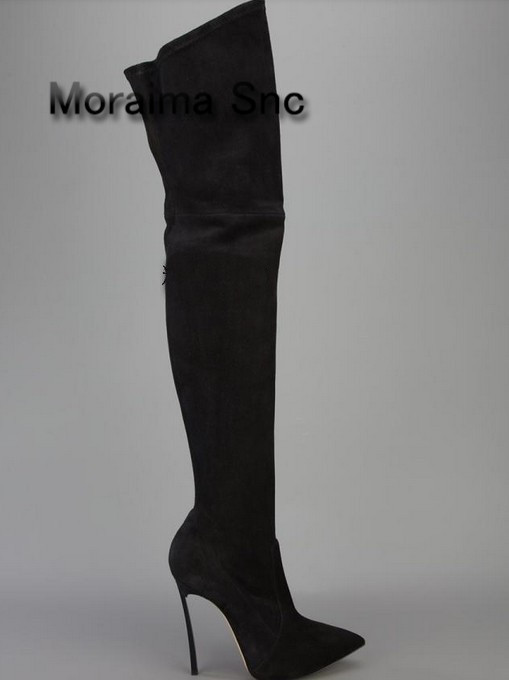 Moraima Snc Name brand flock over-knee long boots for women pointed toe metal heel thigh high boots high heels shoes women 2018