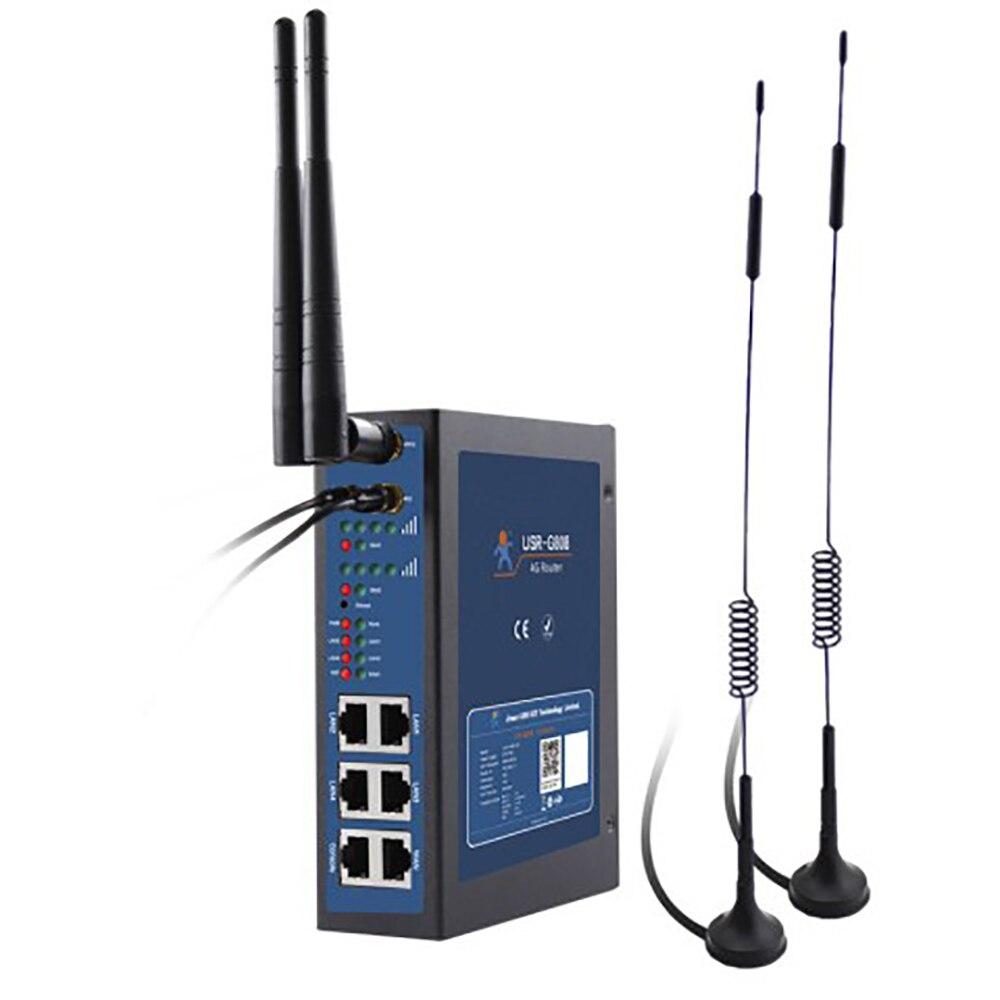 USR-G808 Промышленные Две сим-карты 4G LTE WiFi беспроводной маршрутизатор с слотом для sim-карты порты TCP, UDP HTTP протоколы din-рейка wallout Watchdog170