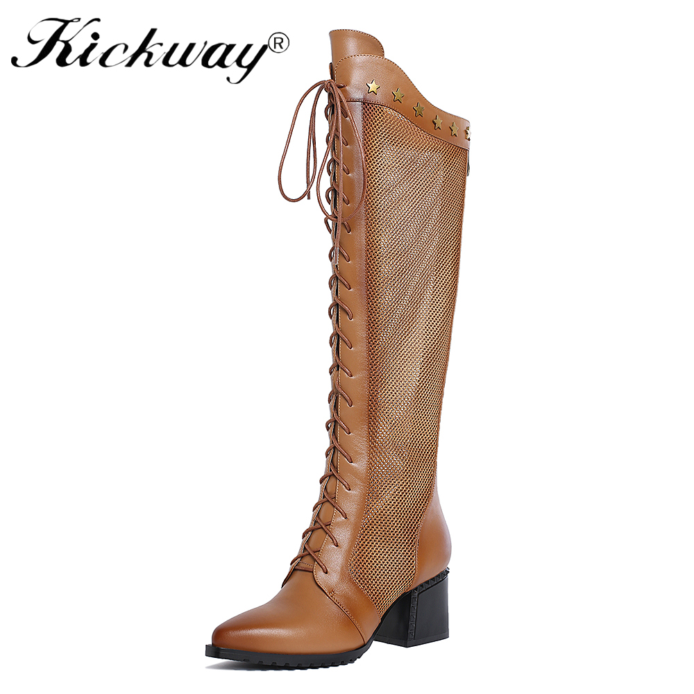 Kickway 2018 New Fashion Women Genuine Leather Lace High Heels Knee High Boots Spring Summer Sexy Thigh High Boots Hot Botas women ultrathin lace top sheer thigh high silk stockings fashion style new gh