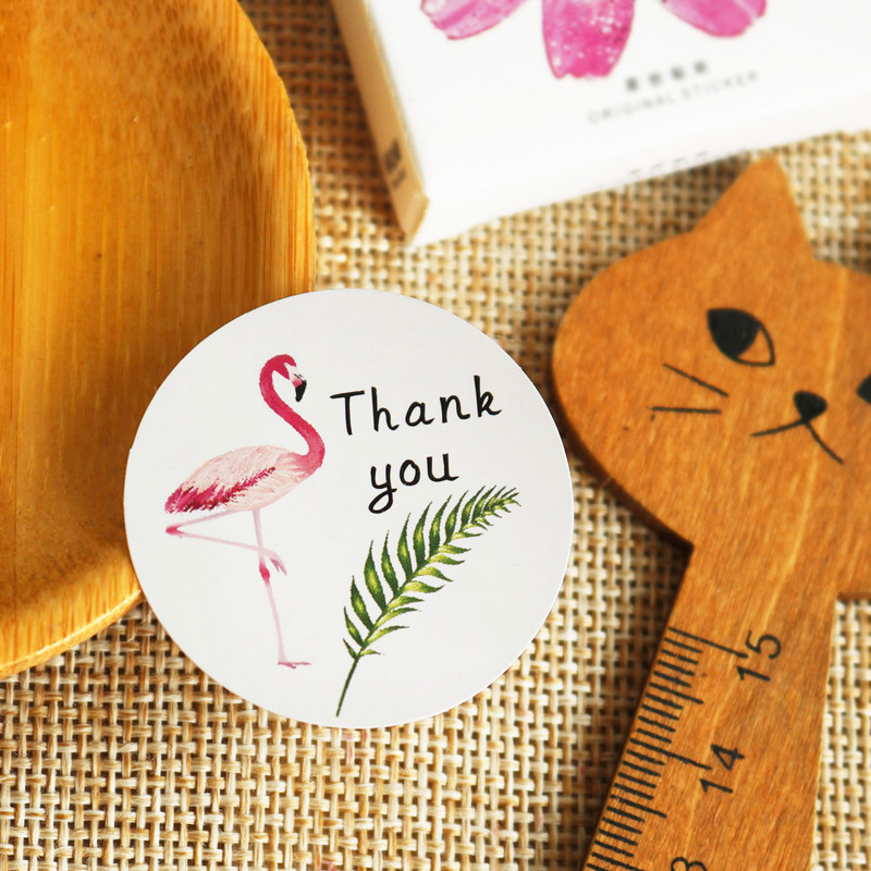 108pcs Flamingo Paper Sticker Hand Made White Seal Stickers Gift Stickers Scrapbooking DIY Creative Kid Stationery Sticker Lable