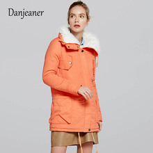 Danjeaner Winter Coat Women New Parka Casual Outwear Fur Collar Thickening Cotton Jacket Plus Size Clothes