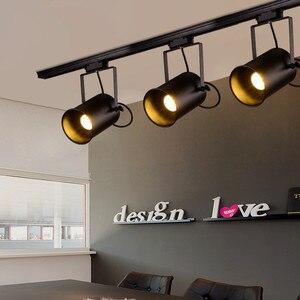 Image 2 - בציר תקרת אור שחור ברזל LED תקרת מנורת תעשייתי מסלול מנורת בגדי רטרו רכבת ספוט אור luminaire מטבח מתקן