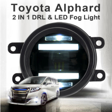 цена на For Toyota Alahard fog lights+LED DRL+turn signal lights Car Styling LED Daytime Running Lights LED fog lamps 2011-2013