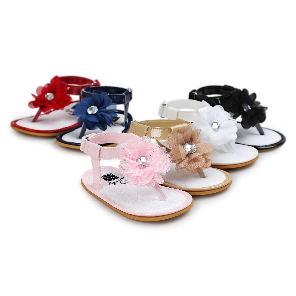 Zomer pasgeboren baby bloem schoenen blauwe baby meisjes sandalen infantil bebe peuter meisje schoenen sol voor 0 ~ 18 M CX21A