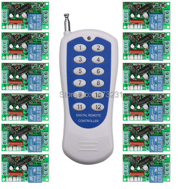 New AC220V 1 CH 1CH RF Wireless Remote Control Switch System,12CH Transmitter + 12 X Receivers wireless remote switch contro 2 receivers 60 buzzers wireless restaurant buzzer caller table call calling button waiter pager system