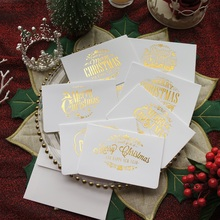 gold 12pcs white Merry Christmas Card with envelope greeting card party invitation DIY Decor gift