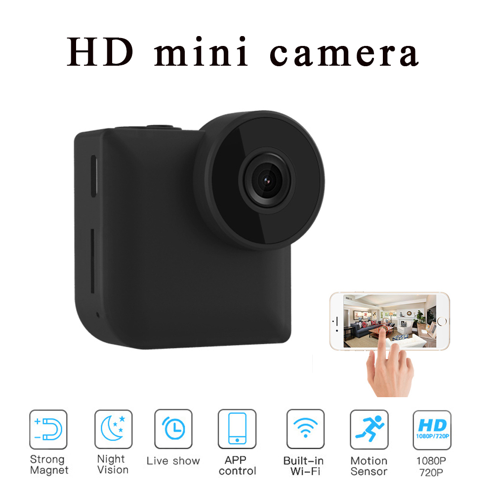 Mini Camera 1080P HD Wireless WiFi Remote Surveillance with 4 Infrared Night Vision Lights Cameras Motion-Detection Home Security & Surveillance