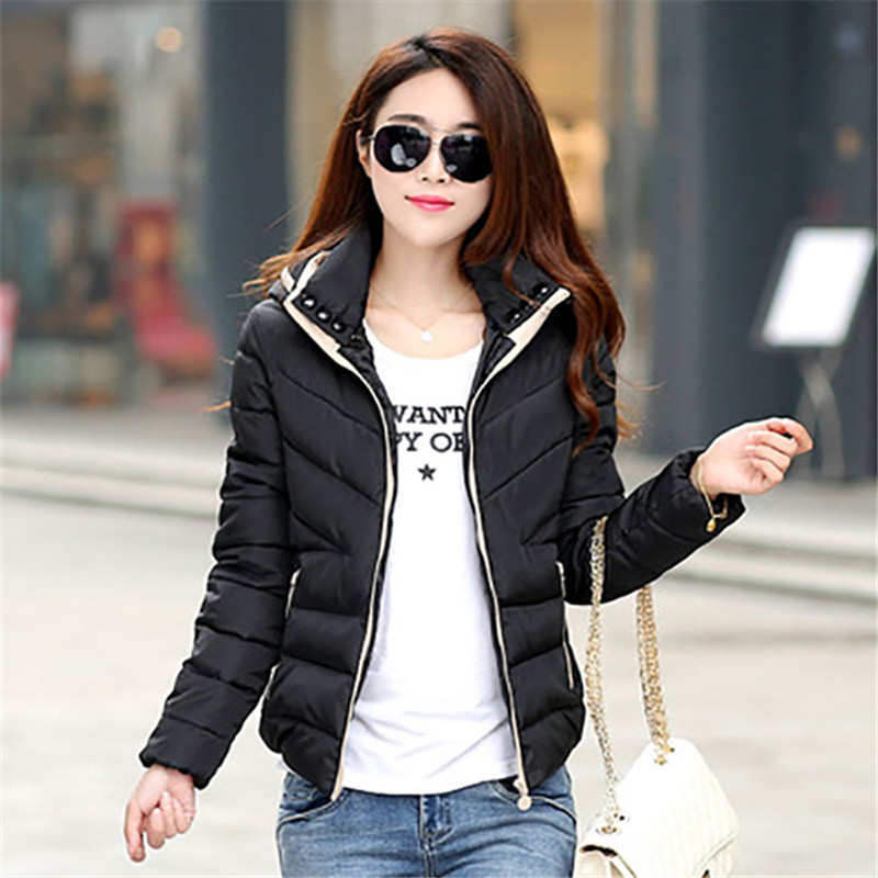2019 New Winter Women Cotton Short Jacket Female Autumn Outerwear Winter Jacket Fashion Girls Padded Slim Hooded Warm   Parkas