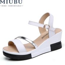 MIUBU Women Fashion Sandals Genuine Leather Strap High Heel Buckle Wedge Platform Shoes Flats Summer