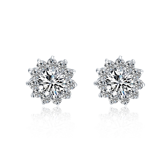 Sunflowers Beautiful 1ct Piece Sona Synthetic Diamonds Earrings For Women Top Quality 925 Silver Luxury