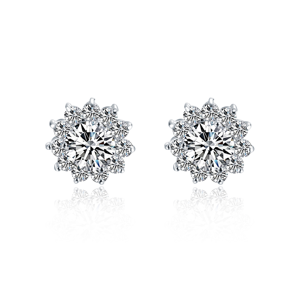 Piece Sona Synthetic Diamonds Earrings For Women  Top Quality 925 Silver Luxury Color Wedding Earrings
