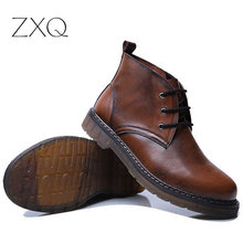 handmade men boots cowhide leather ankle boots british style retro martin boots outdoor male footwear