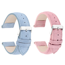 High Quality Suede Leather Watch Band Replacement Men Women Watch Wrist Straps 18mm 20mm 22mm 24mm Watchband Blue Pink KZSP01 все цены